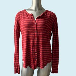 Lucky Brand Orange & Red Button Down Knit Top